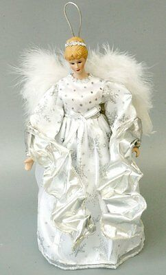 "12"" Angel Porcelain Doll Tree Topper Xmas Decor Collect White Silver Wings Gift"