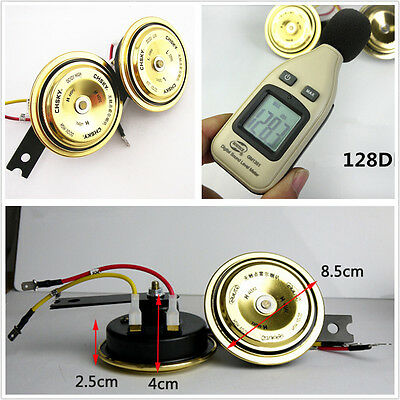 2 x Car Grille Waterproof 12V Gold Super Tone Loud Compact Holzer Electric Horn