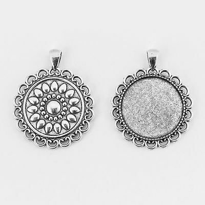 5 Antique Silver Lace Edage 30mm Round Trays Pendant Blanks Cabochon Settings
