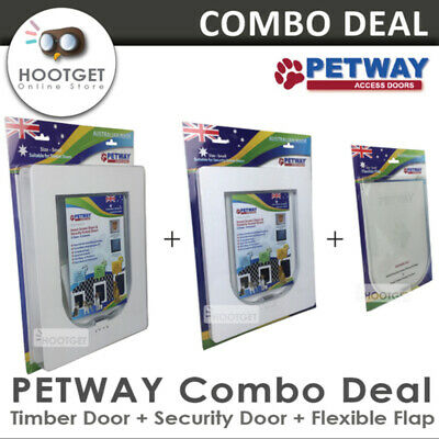 [3 Sizes] PETWAY Security Door+Timber Door+Flexible Flap Combo Set, Cat Dog Door