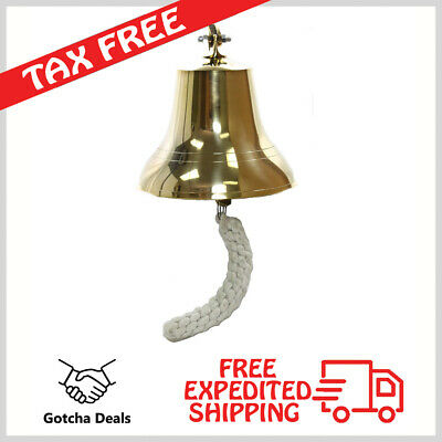 """Bell Brass Ship Nautical Bells 6"""" Solid Wall Vintage Ships Decor Anchor Antique"""