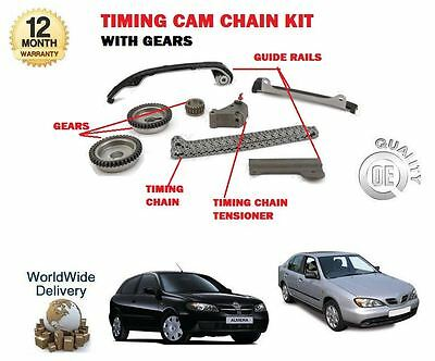 For Nissan Almera N16 + Primera P11 1.5 1.8 1999-> Timing Cam Chain Kit + Gears