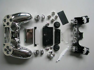 Chrome SILVER Housing Shell Full Mod Kit for PS4 Controller & motherboard CADDY