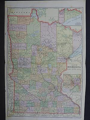 Minnesota 1901 State Map, George F. Cram