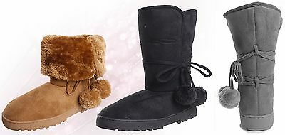 WHOLESALE Lot OF 18 prs Women's Suede Fur Lined Pom-Pom Boot, Indoor & Outdoor