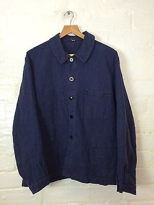 VTG Antique Rare 40s French Linen Indigo Workwear work Chore jacket Worker Hobo