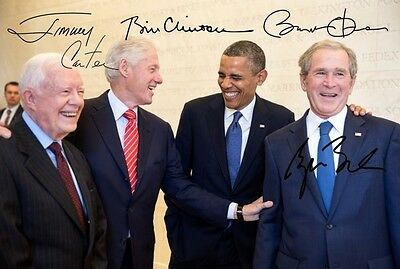 GEORGE BUSH, JIMMY CARTER, BILL CLINTON, BARACK OBAMA, Repro-Autogramm 20x30cm