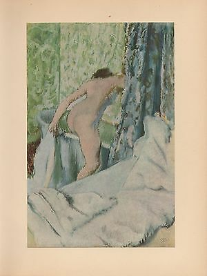 "1951 Vintage DEGAS /""BREAKFAST AFTER THE BATH/"" COLOR Art Print Lithograph"