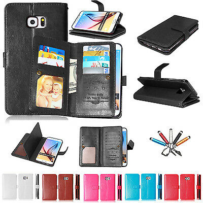 Magnetic Leather Wallet Card Holder Stand Case Cover For Samsung Galaxy Phone