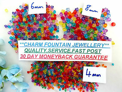 Jewellery Wholesale Spacer Beads Acrylic Bicone Faceted Suit Memorywire Etc Mw51
