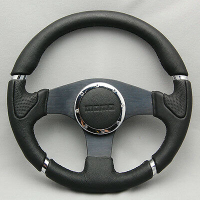 Racing Steering Wheel With Horn Button Leather Black Center 350mm 6 Holes Sport