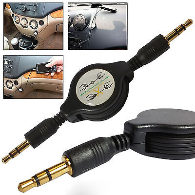 Retractable 3.5mm AUX Jack Stereo Audio Cable Male Cord MP3 iPod PC Speaker Car