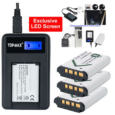 3x NP-BX1Battery + USB Charger for Sony NP-BX1 RX1 RX1R RX100 Ⅱ DSC-WX300