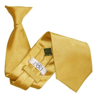 DQT Satin Plain Solid Gold Waiter Security Funeral Clip On Tie