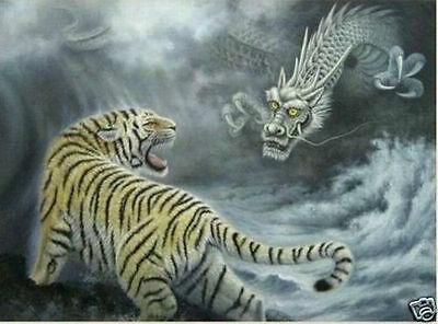 Modern Abstract Huge Wall Art Oil Painting On Canvas-tiger and dragon(no framed)