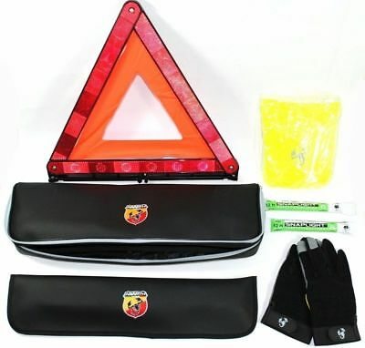 Abarth Emergency Travel Kit Triangle Gloves Fluorescent Vest New Genuine 5744596