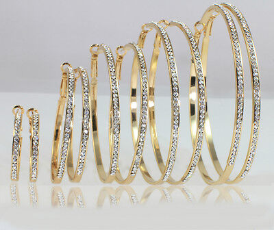 14k Gold Plated Large, Medium, Small Hoop Earrings Made With Swarovski Crystal