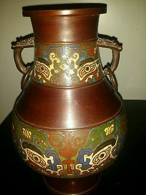 "Antique Large Japanese Archaic Style Bronze Champleve Enamel 12x8inch ""Vase"