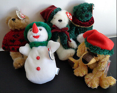 TY Beanie Babies CHRISTMAS Lot of 5 Bearkhardt Laurel Snowgirl Klause Jinglepup