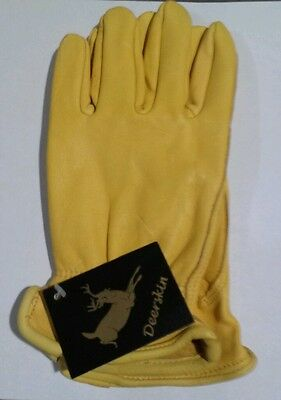 Luxury Deer Skin leather Gloves Natural Unlined Men's