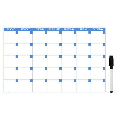 Adhesive 11x17 Large Monthly Dry Erase Calendar with Dry Erase Marker.
