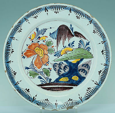 Fayence um 1760 grosse Platte Chinoiserie Charger Delft Chinese Garden
