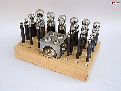 PARUU® 25 pc Dapping Block Punch Set with wooden stand high carbon steel st415