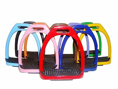 New Aluminum Light Weight Stirrups Horse Riding With Treads 10 Colors