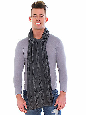 Winter Mens Solid Color Cable Knit Scarf 2 Circle Long Scarf