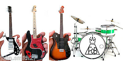 Miniature Guitar Fall Out Boy Set of 4 Patrick , Pete Bass, Joe and Andy Drums