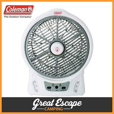 Coleman 8 inch Portable Rechargable Fan with LED 12V / 240V
