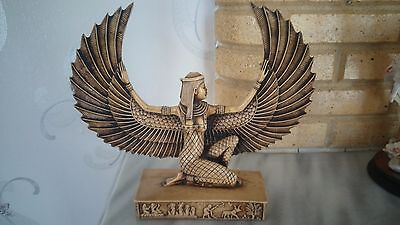 Egyptian Sculpture Ancient Goddess Isis Angel Open Wings Special Decoration