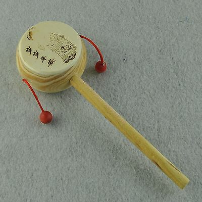 Infant Baby Education Wooden Shaking Rattle Musical Hand Bell Drum Toy 1Pcs