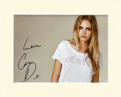 CARA DELEVINGNE SUPER MODEL PP 8x10 MOUNTED SIGNED AUTOGRAPH PHOTO