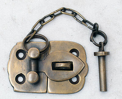 Vintage Cabin Cabinet Door Latch Hook Solid Brass Hasp Lock Gate