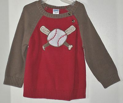 GYMBOREE Size 18-24 Months Boys Red Brown Baseball Pullover Sweater