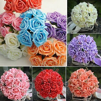 50 X Foam Rose Artificial Flower Craft Wedding Bouquet Party DIY