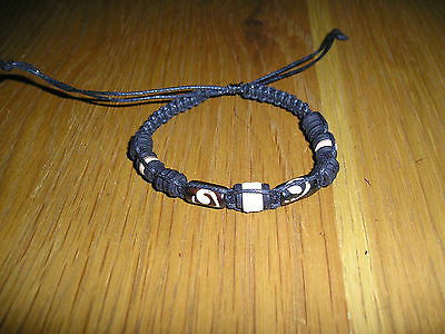New Brown Swirl Bead Wood & Fishbone Waxy Black Wristband Ethnic Tribal Quality