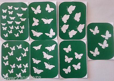 Pack of 7 BUTTERFLIES- 2 Vinyl Stencils for Glass etching