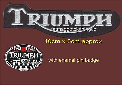 Triumph Motorcycle Embroidered Patch with or without Enamel Pin Badge
