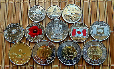 "2015 CANADA 12-coin Full Set with *RED POPPY*+""FLAG"" 25c + *REMEMBRANCE* 2$ -UNC"