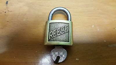 Vintage Antique Reese Us Brass W/ 1 Key Raised Letters Padlock # 4 Lock Good Con