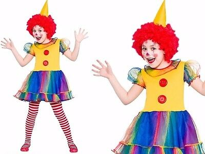 Child CUTE LITTLE CLOWN Big Top Film Circus Girls Fancy Dress Costume Age 3-10