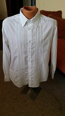 VINTAGE: Epic Guess Tuxedo Shirt White Size L Embroidered Stitching