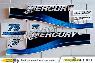 KIT adesivi MERCURY motore75cv fourstroke/efi/optimax/saltwater plastificati blu