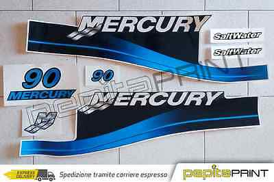 KIT adesivi MERCURY motore90cv fourstroke/efi/optimax/saltwater plastificati blu