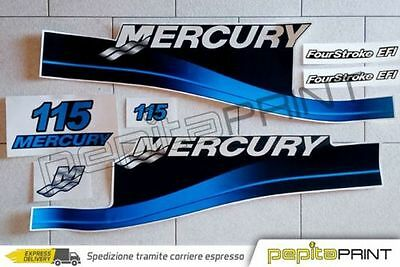 KIT adesivi MERCURY motore115 fourstroke efi optimax saltwater plastificati blu