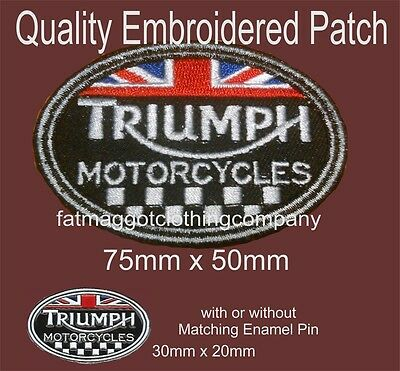 Triumph Union Jack Motorcycle Embroidered Patch with or without Enamel Pin Badge
