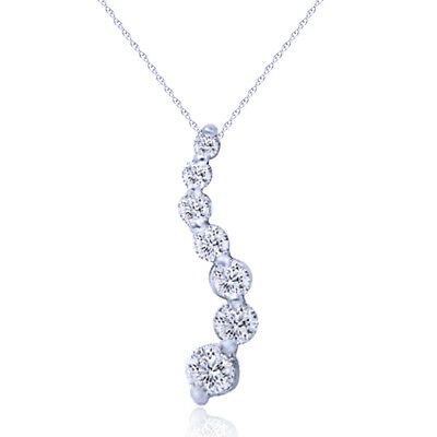 1/2CT Real Diamond Journey Pendant S-Curve 14K White Gold Brilliant Sparkly