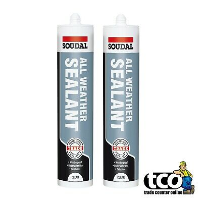 2 x Soudal ALL WEATHER SEALANT Weatherproof Roofing Silicone 300ml | CLEAR